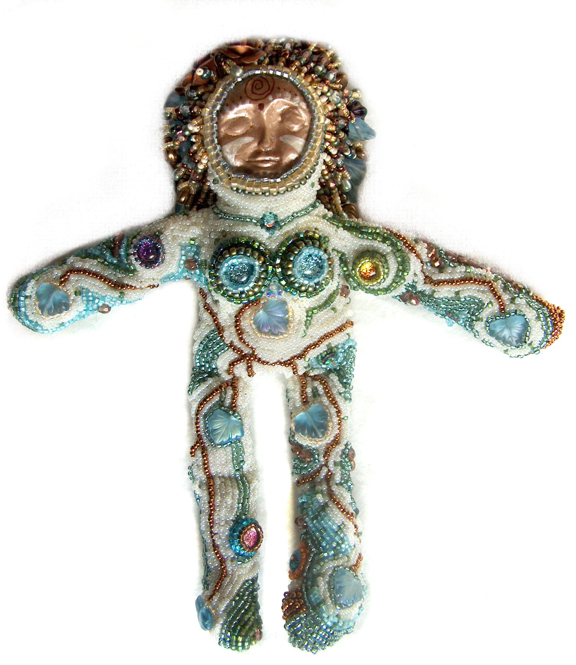 beaded spirit doll with ceramic face Laura Sandoval