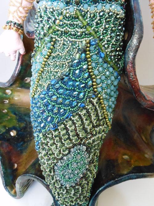 beaded mermaid doll detail Laura Sandoval