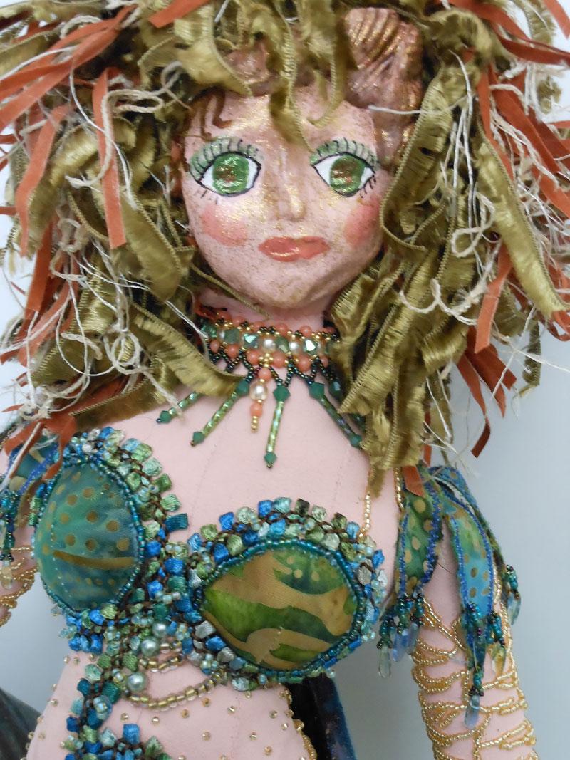 beaded mermaid doll detail ceramic face Laura Sandoval