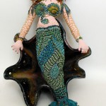 beaded mermaid doll ceramic face Laura Sandoval