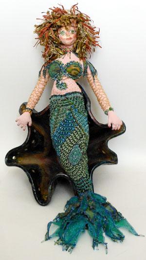 beaded mermaid doll ceramic face Laura Sandoval