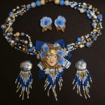 polymer clay beaded face necklace and earrings