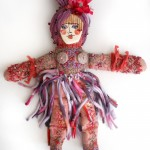 embroidered beaded spirit doll ceramic face Sarajane Helm