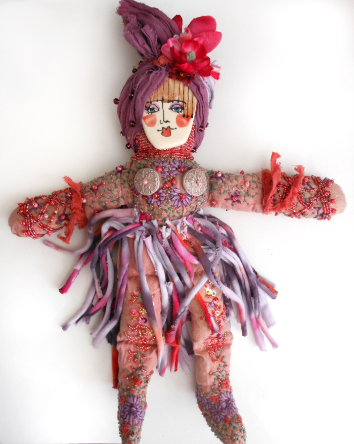 embroidered beaded spirit doll ceramic face Sarajane Helm