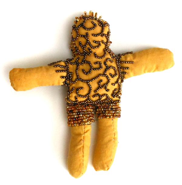 beaded spirit doll bronze cast face Sarajane Helm