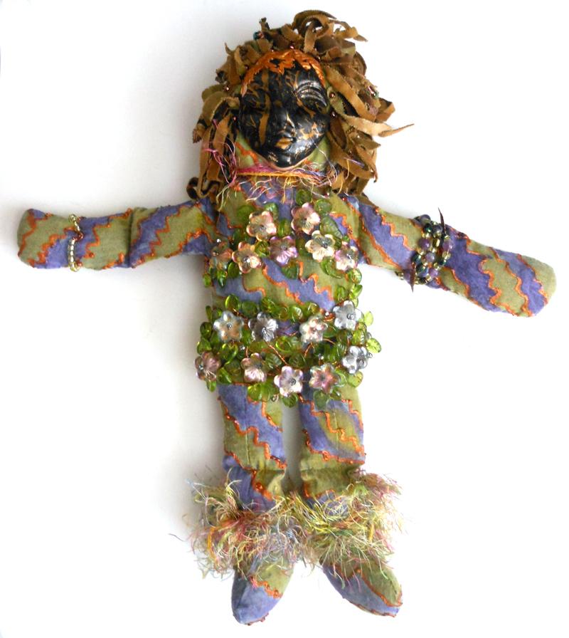beaded spirit doll polymer clay face Laura Sandoval