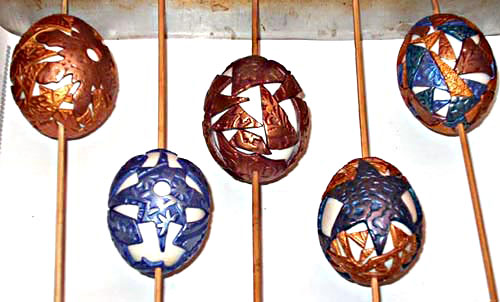eggs with polymer on skewers