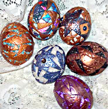 polymer clay and bead decorated eggs