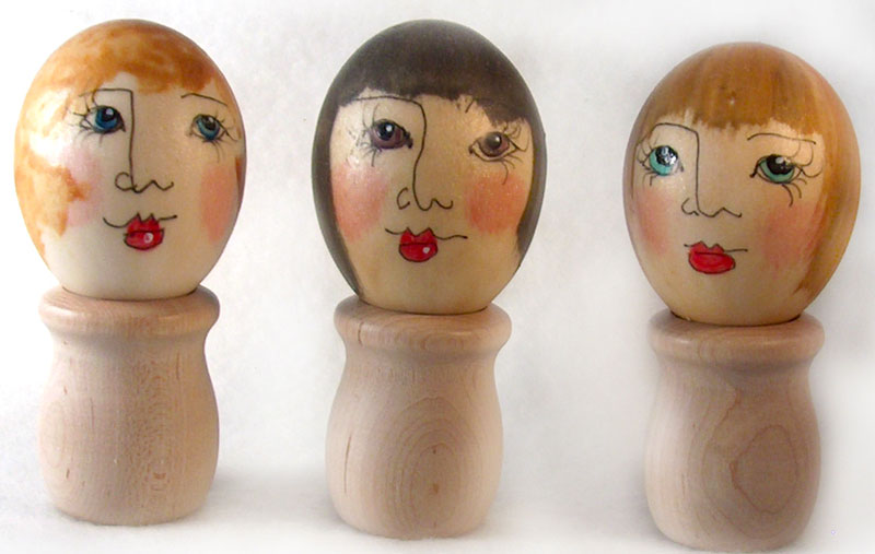 polymer clay painted egg ladies