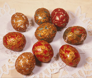 polymer clay filigree over eggshells
