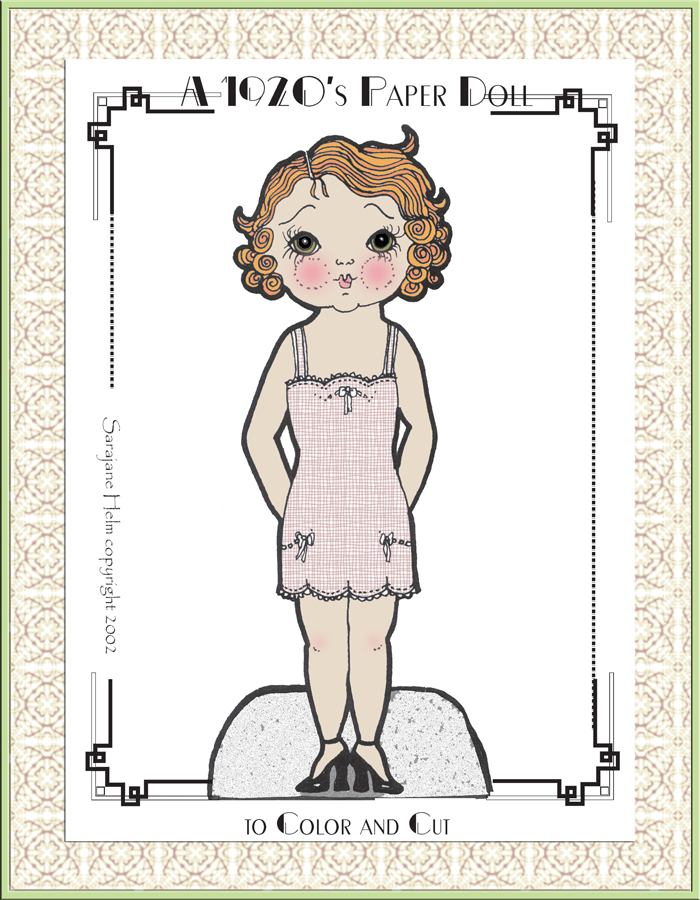 1920s paper doll colored with Photoshop