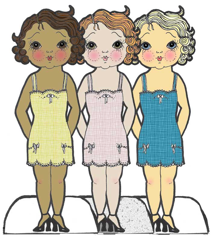digitally colored paper dolls