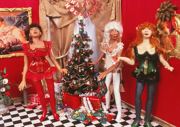Christmas at Chez Madames--polymer clay dolls and miniatures