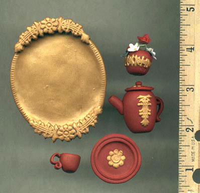 miniature polymer clay tea set