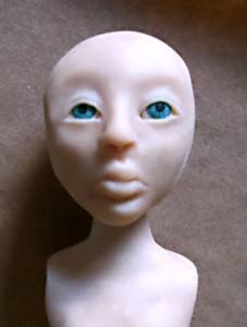 polymer clay eyes in head