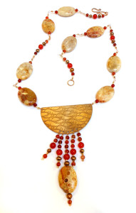 etched bronze-fossil coral-carnelian necklace