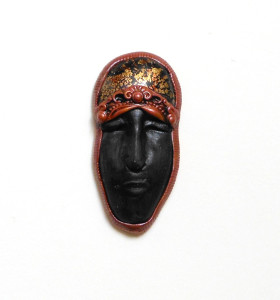 Sarajane Helm miniature polymer clay masks