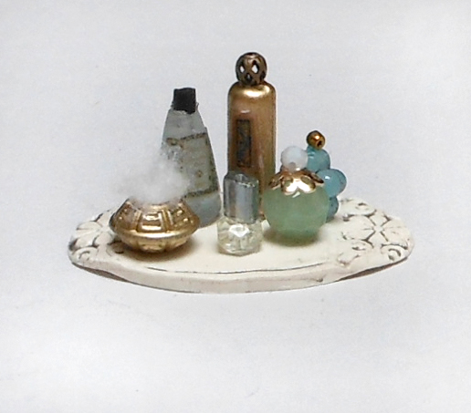 a finished miniature set of toiletries for a fashion doll