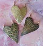 etched metal hearts