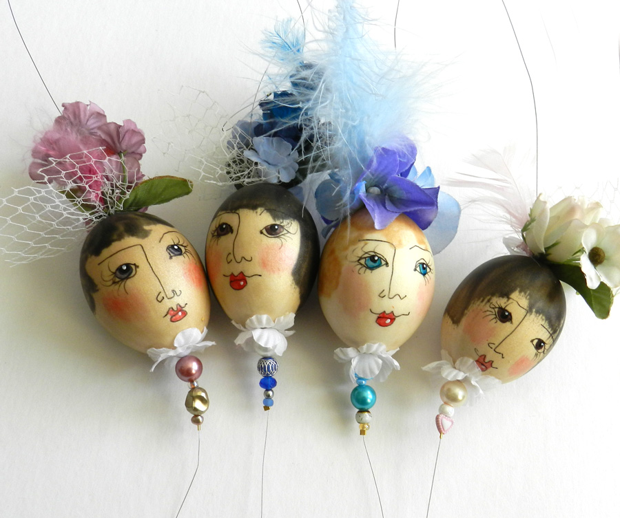 eggshell ladies made with liquid polymer clay