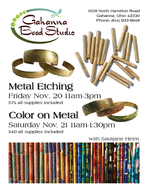 metal etching and color on metal classes at Gahanna Bead Studio